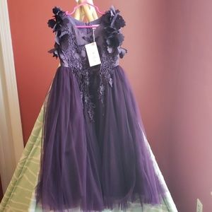 NEW Purple Tulle Gown w/ Petal + Lace Accents